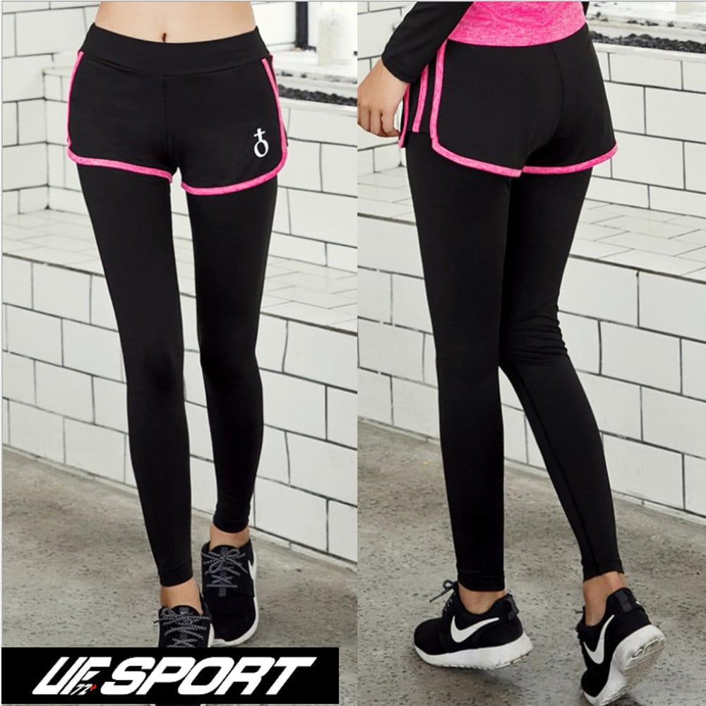 【UF72+】UF-W17121時尚高彈力女款速乾瑜珈輕壓假兩件運動褲/黑桃 0