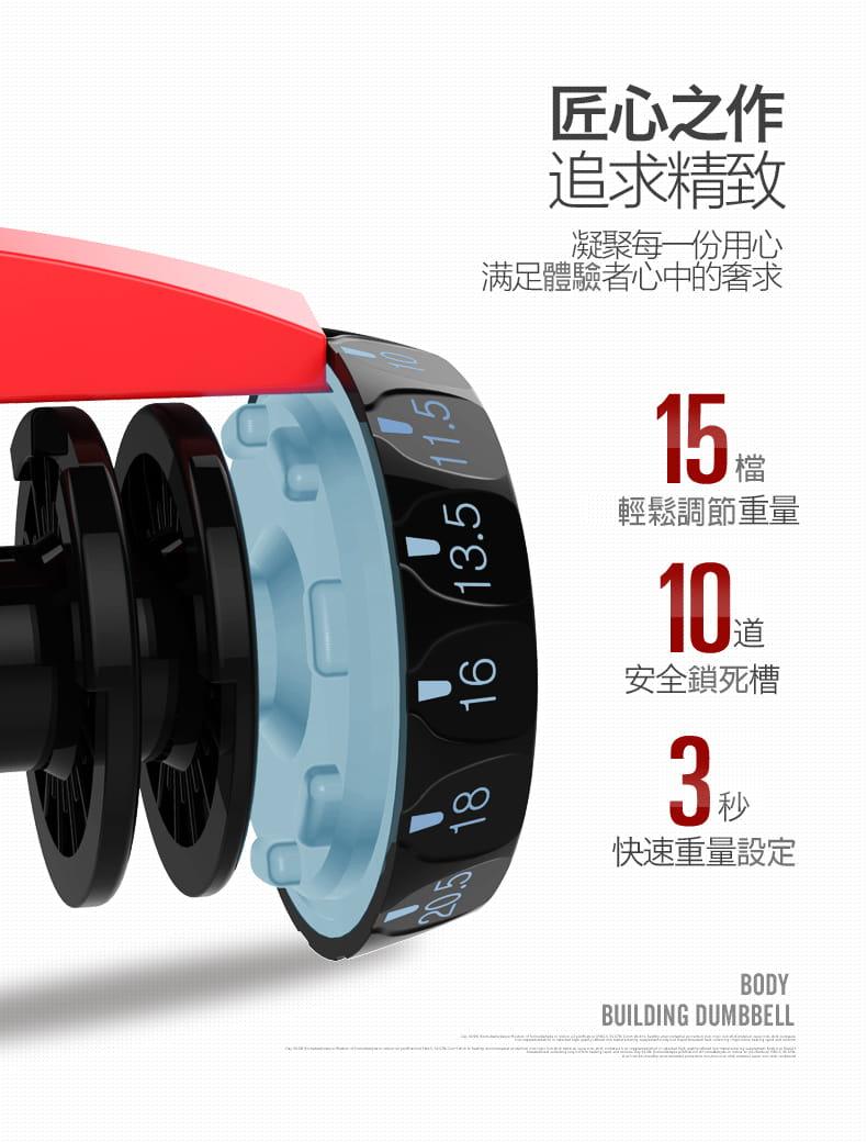 【快速調整型啞鈴】24KG 52磅 15段重量 可調式啞鈴 10