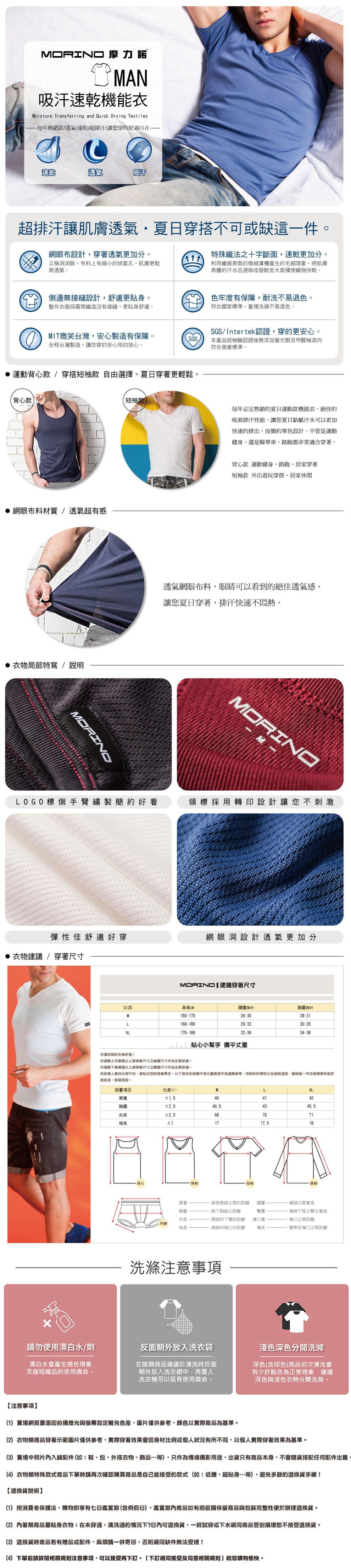 【MORINO摩力諾】吸汗速乾短袖V領衫 5