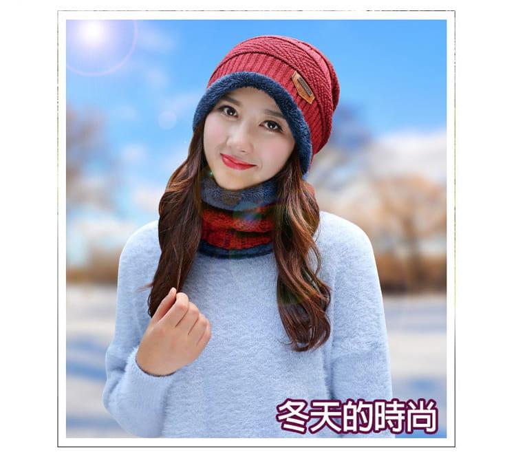 【JAR嚴選】時尚情侶針織圍脖頭帽組 2