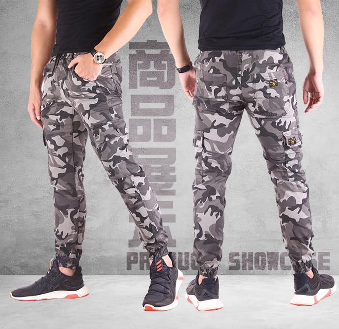 【CS衣舖】迷彩工裝 多口袋 修身顯瘦 工作褲 休閒長褲 縮口褲 兩色 8