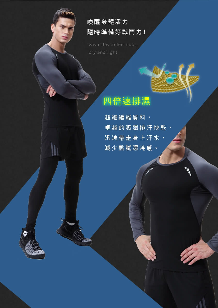 【Un-Sport高機能】型男專業吸排速乾三件式運動套組(長袖+短褲+緊身長褲) 2