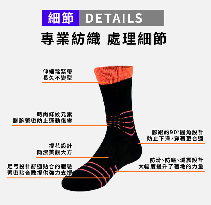 【JORDON】橋登 超強防護 彈力避震 強力排汗 機能襪 4