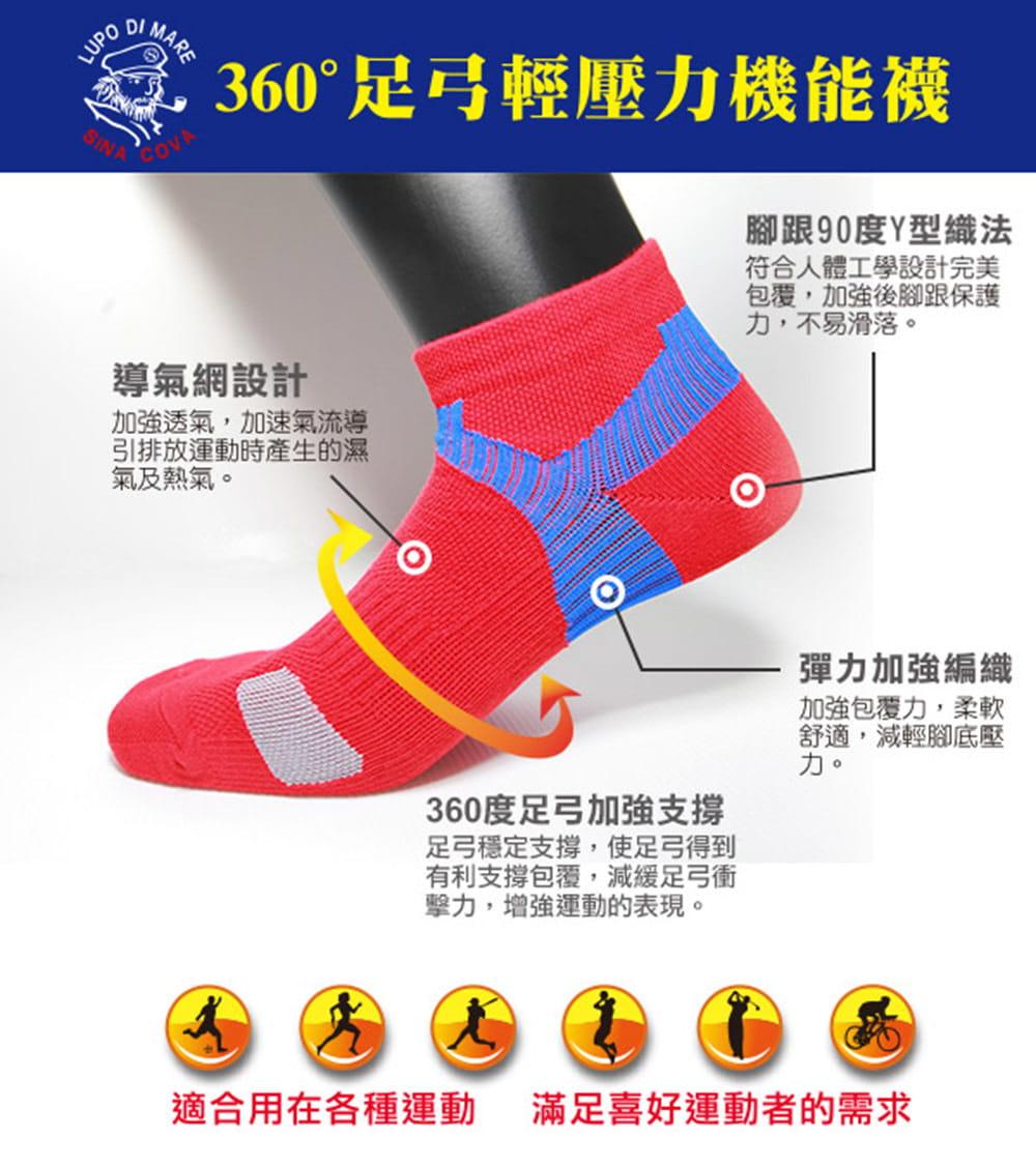 【老船長】(K144-4L)足弓輕壓機能運動襪-男款 2