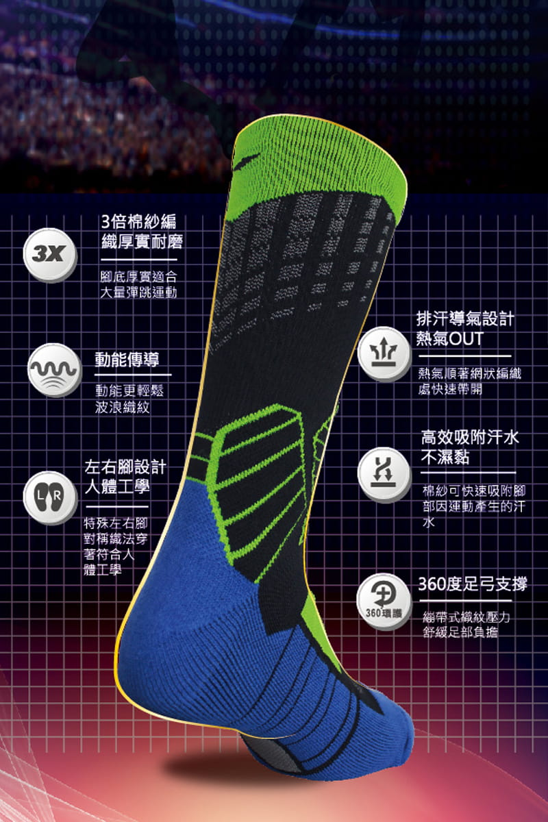 【IFEET】(9817-24)全方位足弓壓力運動籃球襪 5