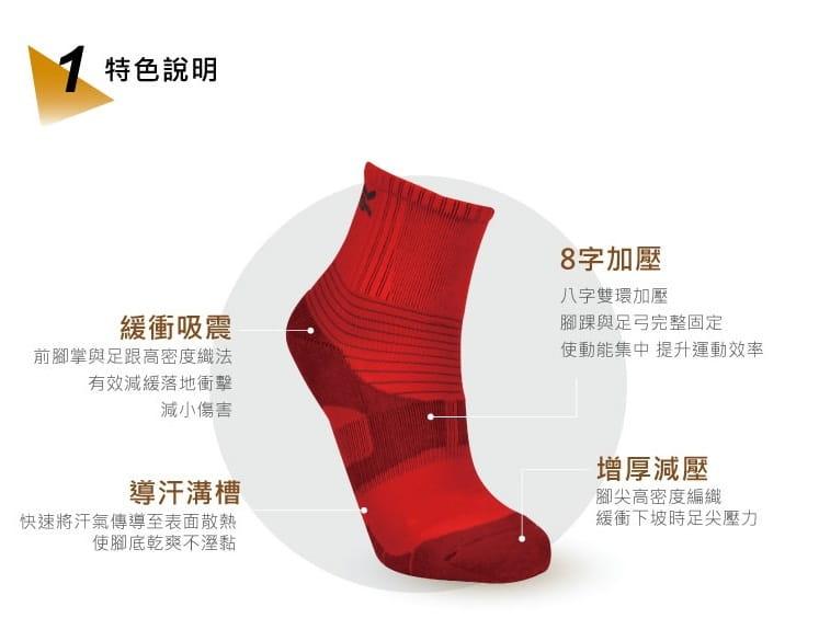 【旅行家】8字加壓排汗運動短襪 2