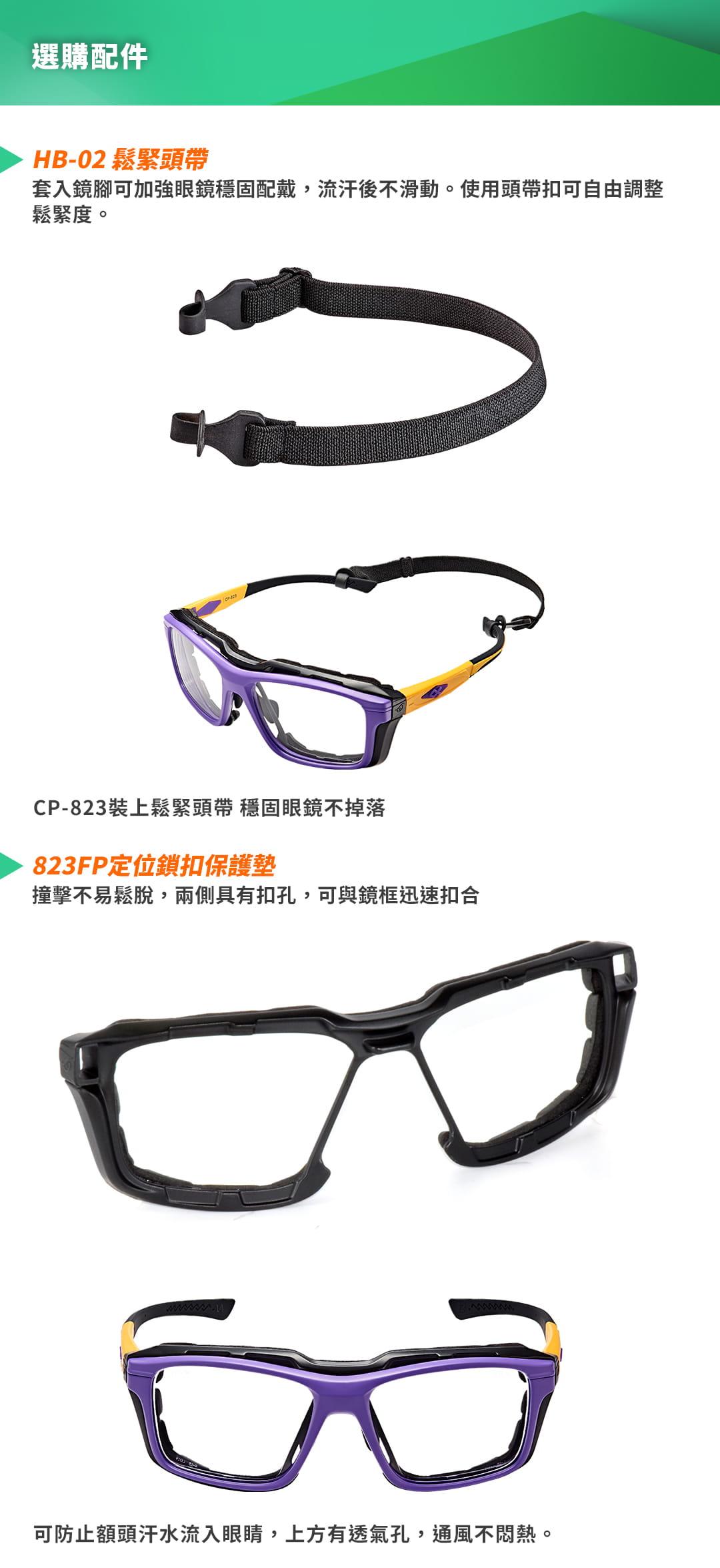 SABLE黑貂光學-專屬球類運動眼鏡CP-823(標準款-無保護墊)+SP-03(平光精緻鍍膜鏡片) 2