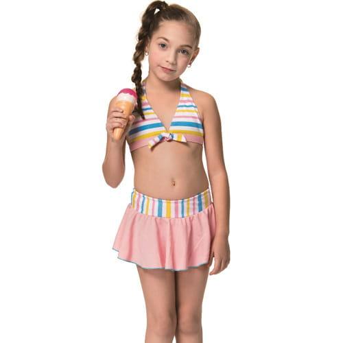 泡湯女童兩截式比基尼泳裝附泳帽B82828